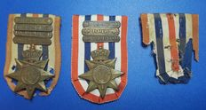Medals Orde en Vrede with buckles 1946 47-48 and 49 (Cross for Order and Peace)