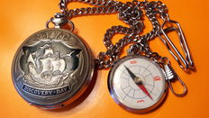 Mołnia  DISCOVERY DAY  pocket watch  with fret and a compass