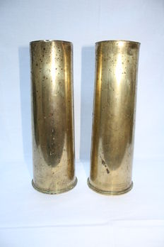 Pair of 2 pounder shell casing - 18 pr - army - 1916