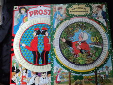 2 tin signs from 1986 - each with spinnable section in the middle with many, many recipes etc., dimensions: approx. 20 cm x 41 cm