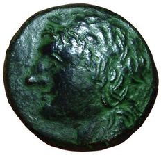 Greek Antiquity - Italy, Sicily, Syracuse, Hiketas II  (287-278 BC) - Æ (23mm, 7,65g.) - Head Zeus Hellanios / Eagle - Calciati 175