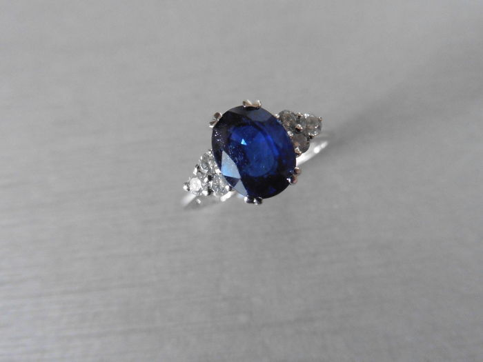 18k Gold Sapphire and Diamond Dress Ring - size 53
