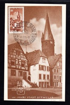 Saarland 1950 - 400 year Ottweiler 10FR on first day of issue cover and maxicard - Michel 296 x 2