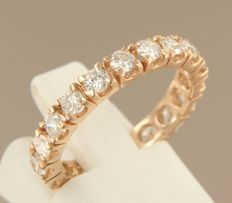 14k rose gold full alliance ring set with 19 brilliant cut diamonds, approx. 1.50 carat in total - 2.5 grams - ring size 17 (53)