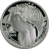 Italy, 2015 – 10 Euro – '70 years of peace in Europe' – In display box – Silver.