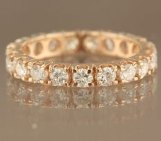 14 kt rose gold full alliance ring set with 19 brilliant cut diamonds, approximately 1.50 carat in total