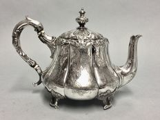 Antique Victorian tea pot with floral decoration, England, ca 1900
