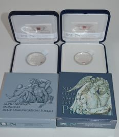 Vatican City - 5 Euro 2014 ´47th World Day for Peace´ and 10 Euro ´48th World Day of Social Communications´ (2 coins) - silver