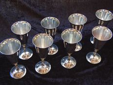 Set of 8 silver plated wine goblets on foot