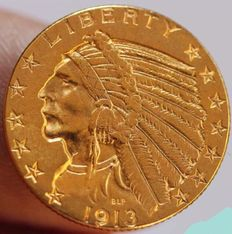 United States - 5 Dollars 1913 'Indian Head' - Gold