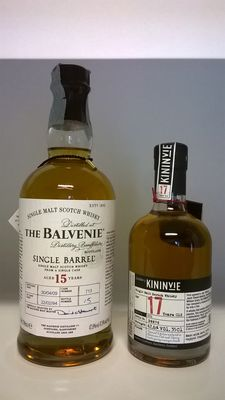 2 bottles - The Balvenie 15 Years Old Single Barrel, distilled in 1994 & bottled in 2009 (discontinued version, with tube) / Kininvie 17 Years Old Batch n. 001, distilled in 1996 (first official release, with box)