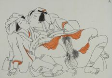 Oosterse erotica; Onbekende schilder - Sexual Intercourse between Samurai & Geisha - ca  1920
