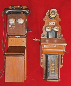 Two antique wall telephones
