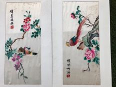 Two silk panels, embroidered in silk - China - 21st century