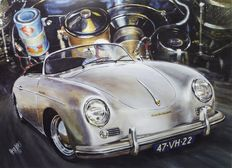 "Porsche 356 - ""FAST EMOTIONS"" - original lithograph by Hessel BES"