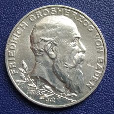German Empire, Baden – 2 mark 1902 G for the 50th anniversary of the Government – silver