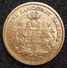 German Empire, Hamburg – 5 Mark 1877 - gold