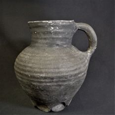 Medieval rotated grey pottery - 180 mm high