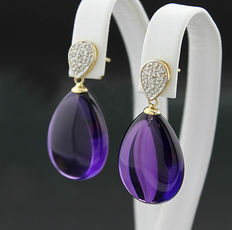 A pair of amethyst and diamond ear pendants, 585 yellow gold