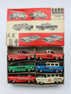 "STF, China - Length appr. 10 cm - Tin friction ""Cars in 6 Assorted Designs"" MF814, 1970s"