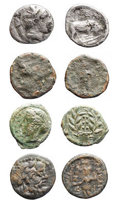 Antiquity - Lot comprising 4 pieces. AE. AR. Greek