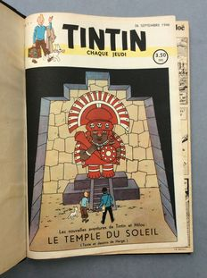 Journal Tintin - Reliure premiere année: no. 1 à no. 14 - private binding - C - (1946)