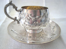 Lovely sterling silver cup and saucer 950/1000, Minerva's head 1st grade hallmark + Clémont-Aubert's silversmith's mark