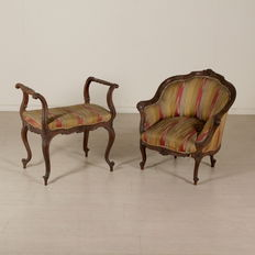 Chair and small bench - Italy - early 20th century