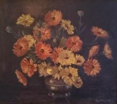 Westcott (Early 20th century) - Still life of marigolds