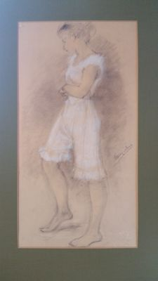 English school - Lady in white dress