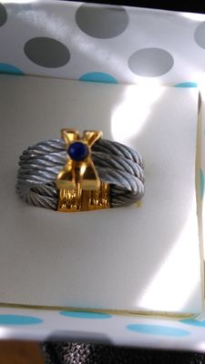 Stainless steel ring by P. Charioll with 14 kt gold parts, ring size: 20 mm