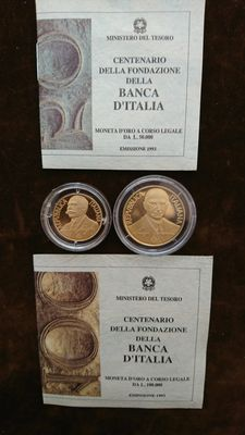 Italy, Republic – 50,000 & 100,000 lire 1993 – diptych with case – gold