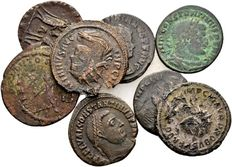 Roman Empire - Lot of 8 not yet determined Roman AE coins - Maximian, Probus, Constantine the Great and others 270-337 AD.