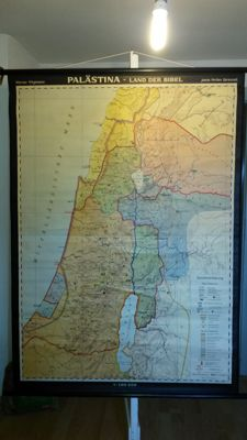 "Old School Wall Map ""Palestine - Land of the Bible"" - Old an New Testament"