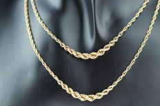 14 kt gold women's necklace, cord link, long model, length 82 cm