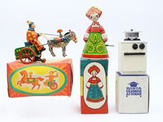 Soviet USSR Russian Tin Toy CCCP 1970 set of 3 toys in the box