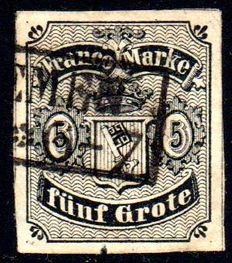 Bremen 1856/1867 - 'National coat of arms, five Grote black, 5 Gr. green, 2 Gr. orange' - Michel 2, 9b and 10a with three photo certificates Heitmann BPP