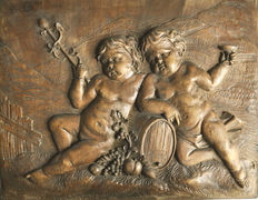 Bas-relief plaque carved in wood - Allegory of the Autumn, Bacchus - 19th century