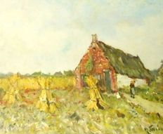 K. Smink (1879-1969) - Expressionist summer landscape with wheat sheaves, cottage and farmer's wife