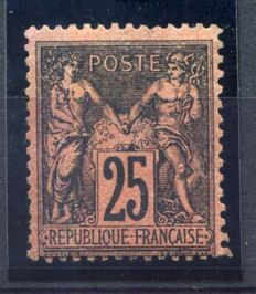1878 France - 25c Wisemen, black, red, signed Calves - Yvert No91