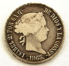 Spain – Isabel II – 50 cents of silver – 1865 – Manila