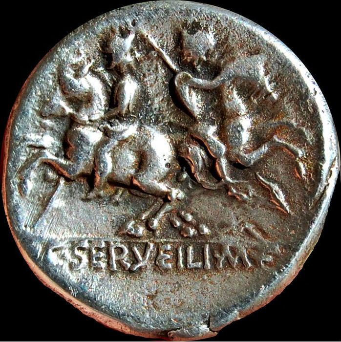 Roman Republic - C. Servilius M. F. Denarius (136 BC). Rome mint. The Dioscuri riding in opposite directions