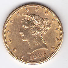 United States – 10 Dollars 1906 S 'Liberty Head Eagle' – gold