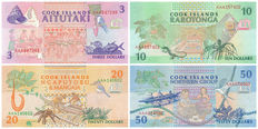 Cook Islands - 3, 10, 20 and 50 dollars 1992 - Pick 7, 8, 9 and 10