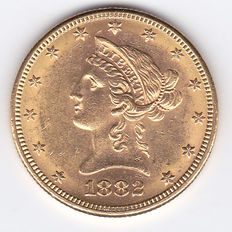 United States – 10 Dollars 1882 'Liberty Head Eagle' – gold