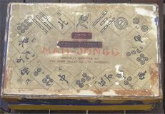 Chinese Cased Mah-jong Set containing 144 paper faced Wooden Tiles,counters & 2 dice - first half 20th century
