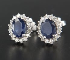 14 kt White gold, entourage ear studs set with a central, oval cut sapphire with an entourage of 32 single cut diamonds, size 1.2 x 1.0 cm.