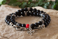 Double men's bracelet - sterling silver & matte black onyx - 19-20cm