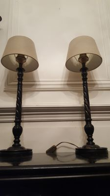 Pair of two wooden Bedworth lamp base, England, late 20th century