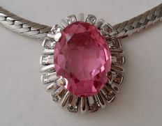 Pink Sapphire Crystal Necklace Signed D'Orlan (Marcel Boucher)